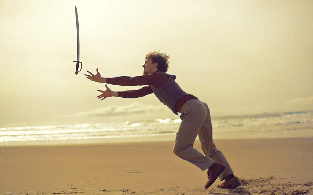 sword, man, weapon